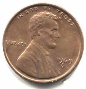 1969 S LINCOLN MEMORIAL PENNY   AMERICAN ONE CENT COIN   SAN FRANCISCO MINT