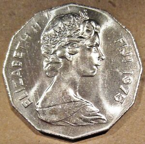 BRIGHT FIJI 1975 QUEEN ELIZABETH II FIFTY CENTS COIN  KM 36