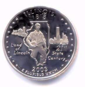 ILLINOIS CAMEO PROOF  STATE QUARTER 2003 S COIN SAN FRANCISCO MINT