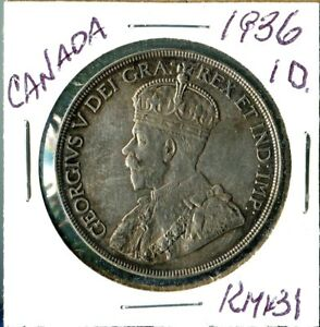 CANADA 1936 SILVER ONE DOLLAR CROWN SIZE GEORGE V   ONE YEAR ONLY TYPE