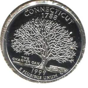 US CONNECTICUT CAMEO PROOF STATE QUARTER 1999 S COIN SAN FRANCISCO MINT