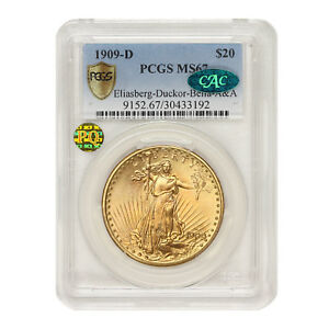 Click now to see the BUY IT NOW Price! 1909 D $20 GOLD SAINT GAUDENS PCGS MS67 ELIASBERG DUCKOR BELLA A&A CAC PQ