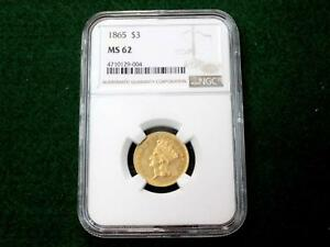 Click now to see the BUY IT NOW Price! 1865 $3 CIVIL WAR THREE DOLLAR GOLD PIECE GRADED MS62 BY NGC LY