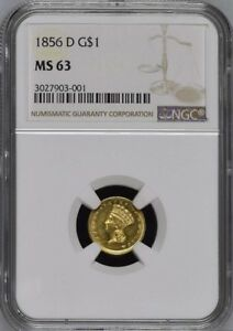Click now to see the BUY IT NOW Price! 1856 D G$1 GOLD DOLLAR NGC MS63 FINEST KNOWN