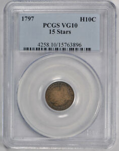 1797 H10C 15 STARS DRAPED BUST HALF DIME SMALL EAGLE PCGS VG 10 US TYPE