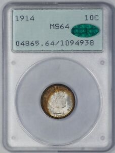 1914 BARBER DIME 10C PCGS & CAC CERTIFIED MS 64 AMAZING COLOR RATTLER UNC  938