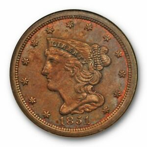 1851 1/2C BRAIDED HAIR HALF CENT NGC MS 65 BN UNCIRCULATED OLDER HOLDER