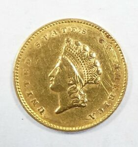 BARGAIN 1855 GOLD INDIAN PRINCESS HEAD TY 2 $1 COIN EXTRA FINE