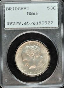 BRIDGEPORT 1936 50C SILVER COMMEMORATIVE PCGS MS65 RATTLER