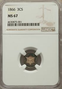 Click now to see the BUY IT NOW Price! 1866 US SILVER THREE CENT PIECE   NGC MS67