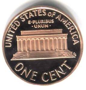 1987 S CAMEO PROOF LINCOLN MEMORIAL PENNY   ONE CENT COIN SAN FRANCISCO MINT