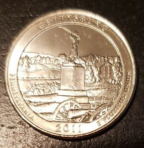 2011 D GETTYSBURG NP AMERICA THE BEAUTIFUL QUARTER   FROM MINT ROLL   8451