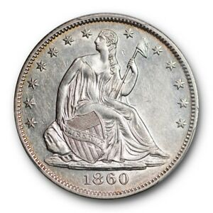 1860 O 50C LIBERTY SEATED HALF DOLLAR PCGS AU 53 ABOUT UNCIRCULATED SHARP