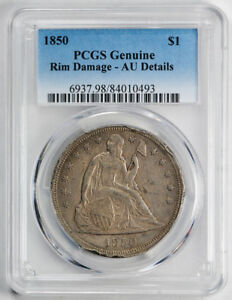 1850 $1 LIBERTY SEATED DOLLAR PCGS AU ABOUT UNCIRCULATED DETAILS KEY DATE