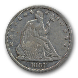 1867 50C LIBERTY SEATED HALF DOLLAR FINE TO EXTRA FINE CLEANED R1472