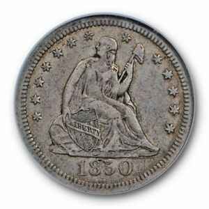 1850 P SEATED LIBERTY QUARTER 25C NGC VF 30 FINE   CAC APPROVED