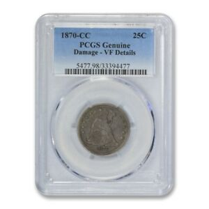 Click now to see the BUY IT NOW Price! 1870 CC 25C LIBERTY SEATED QUARTER PCGS VF FINE DETAILS KEY DATE