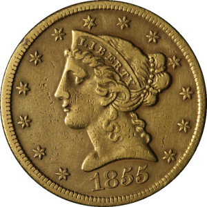 1855 S LIBERTY GOLD $5 NO MOTTO XF DETAILS DECENT EYE APPEAL TOUGH TO FIND
