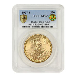 Click now to see the BUY IT NOW Price! 1927 S $20 GOLD SAINT GAUDENS PCGS MS65 DUCKOR BELLA A&A PQ