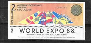 AUSTRALIA EXPO 1988 AU UNUSED $2 DOLLAR BANKNOTE PAPER MONEY CURRENCY BILL NOTE