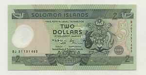 SOLOMON ISLANDS 2 DOLLARS ND 2001 PICK 23 UNC UNCIRCULATED BANKNOTE