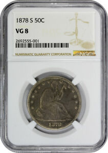 Click now to see the BUY IT NOW Price! 1878 S SEATED LIBERTY HALF DOLLAR NGC VG 8 GOOD SAN FRANCISCO KEY TO THE