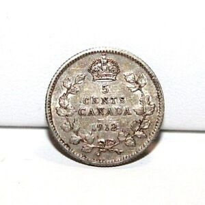 1912 CANADA 5 FIVE CENTS SILVER COIN