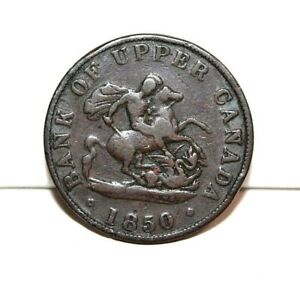 1850 UPPER CANADA HALF PENNY BANK TOKEN W/OUT DOT