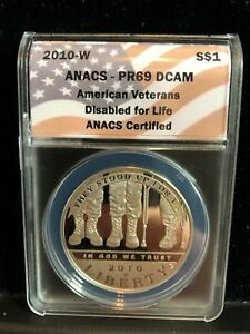 2010 W AMERICAN VETERANS DISABLED LIFE SILVER $1 COMMEMORATIVE ANACS PR69 DCAM