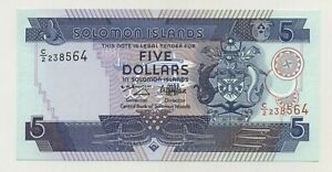 SOLOMON ISLANDS 5 DOLLARS ND 1997 PICK 19 UNC UNCIRCULATED BANKNOTE C/2
