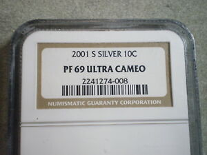 2001 S SILVER ROOSEVELT DIME PF69 ULTRA CAMEO NGC   FROM BILL