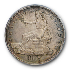 1877 S T$1 TRADE DOLLAR PCGS AU 55 CAC APPROVED CRUSTY ORIGINAL TONED