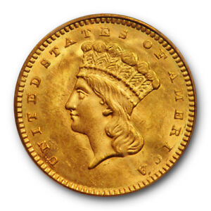 1862 G$1 GOLD DOLLAR PCGS MS 63 UNCIRCULATED LIBERTY HEAD OGH OLD HOLDER