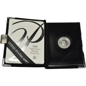 2000 W AMERICAN PLATINUM EAGLE PROOF 1/10 OZ $10 IN OGP