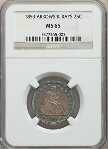 Click now to see the BUY IT NOW Price! 1853 US SILVER 25C SEATED LIBERTY QUARTER   ARROWS & RAYS   NGC MS65