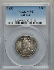 Click now to see the BUY IT NOW Price! 1893 US SILVER 25C COMMEMORATIVE ISABELLA QUARTER   PCGS MS67