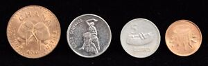 LOT OF 4 FOREIGN COINS DEPICTING NATIVE DRUMS UNC TO AU