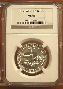 1936 WISCONSIN HALF DOLLAR 50C COIN 1/2 OF $1   NGC MS 65   GEM BU