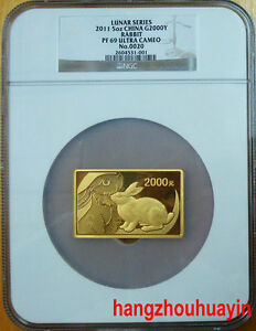 Click now to see the BUY IT NOW Price! 2011 CHINA LUNAR SERIES 5OZ RECTANGLE GOLD RABBIT COIN NGC PF69 ULTRA CAMEO