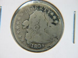 1805 DRAPED BUST DIME VG DETAIL
