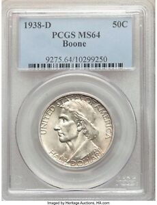 1938 D BOONE SILVER HALF DOLLAR 50C COMMEMORATIVE MS64 PCGS  ONLY 2 100 MINTED