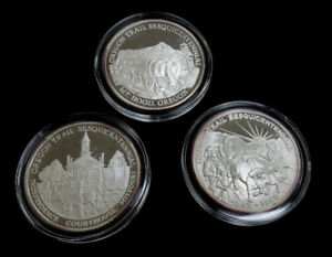 OREGON NATIONAL HISTORIC TRAIL COMM. 3 COIN EACH IS 1OZ. SILVER CASE & BOOKLET