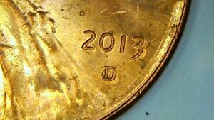 2013 D LINCOLN CENT MINT ERROR PENNY. DOUBLE EXPOSURE ON DATE AND MINT MARK