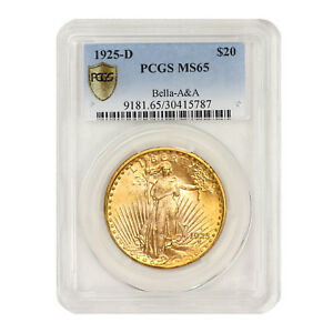 Click now to see the BUY IT NOW Price! 1925 D $20 GOLD SAINT GAUDENS PCGS MS65 BELLA A&A