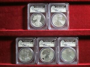 2011 AMERICAN SILVER EAGLE 25TH ANNIV SET  1ST STRIKE  SIGNED BY JOHN MERCANTI