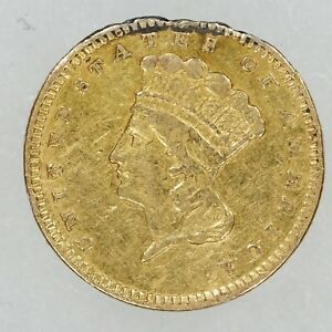 1858 INDIAN PRINCESS GOLD DOLLAR $1 TYPE 3 LARGE HEAD EX JEWELRY DAMAGED  6685