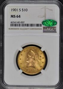 Click now to see the BUY IT NOW Price! 1901 S EAGLE   MOTTO $10 NGC MS64  CAC