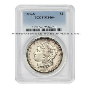 Click now to see the BUY IT NOW Price!  1886 S $1 MORGAN PCGS MS66  SAN FRANCISCO SILVER DOLLAR GEM GRADED COIN