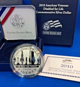2010 W DISABLED VETERANS SILVER PROOF DOLLAR   MINT