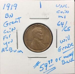 1919 1C BN LINCOLN CENT IN UNC.   CONDITION